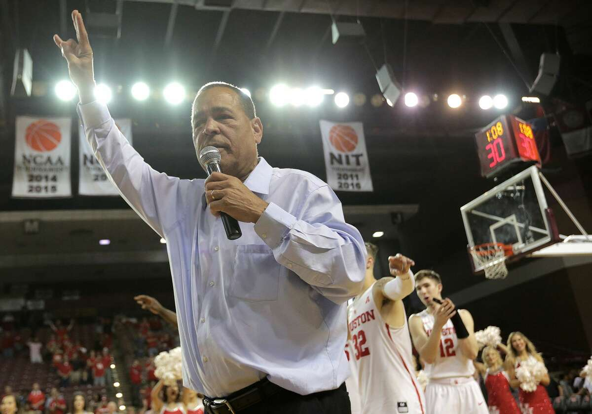 Houston Cougars head coach Kelvin Sampson addresses fans with the team's seniors after thier 81-71 win over Connecticut Huskies at H&PE Arena at TSU on Sunday, March 4, 2018, in Houston. Houston Cougars won the game 81-71. ( Elizabeth Conley / Houston Chronicle )