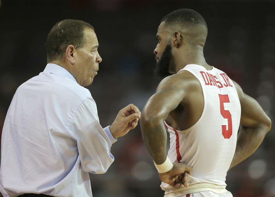 PHOTOS: Fertitta Center  Houston head coach Kelvin Sampson talks with Houston Cougars guard Corey Davis Jr. (5) in the second half of game action against Connecticut Huskies at H&PE Arena at TSU on Sunday, March 4, 2018, in Houston. Houston Cougars won the game 81-71. ( Elizabeth Conley / Houston Chronicle ) >>>A look at the Fertitta Center, which is scheduled to open Dec. 1 during a game between the University of Houston and Oregon ...  Photo: Elizabeth Conley/Houston Chronicle