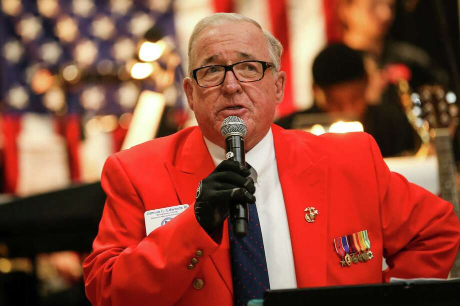 Jimmie Edwards, Chairman of the Montgomery County Veteran's Memorial Commission, speaks during the Land of the Free Because of the Brave reception and fundraiser on Saturday, March 3, 2018, at the Lone Star Convention and Expo Center. Photo: Michael Minasi, Staff Photographer / © 2017 Houston Chronicle