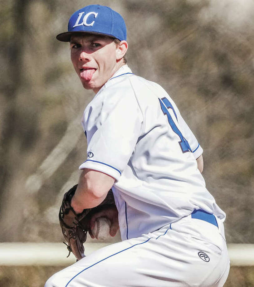 LCCC pitcher Tyler Kitrel looks to deliver a pitch to the plate during Sunday's game in Godfrey. Photo: Nathan Woodside / For The Telegraph
