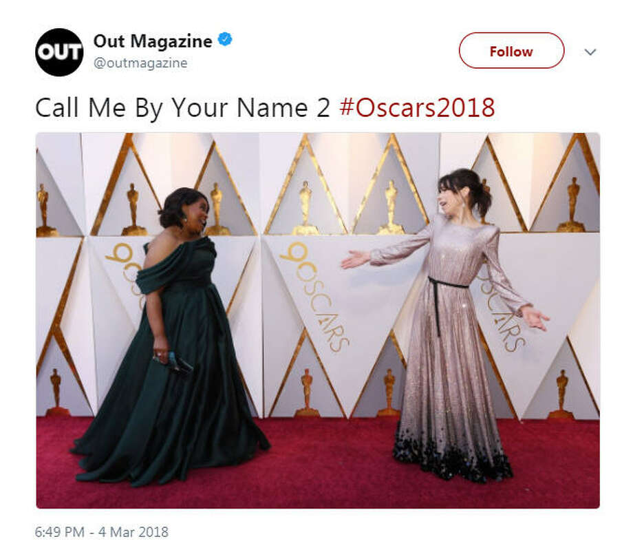 """Call Me By Your Name 2 #Oscars2018""Source: Twitter Photo: Twitter"