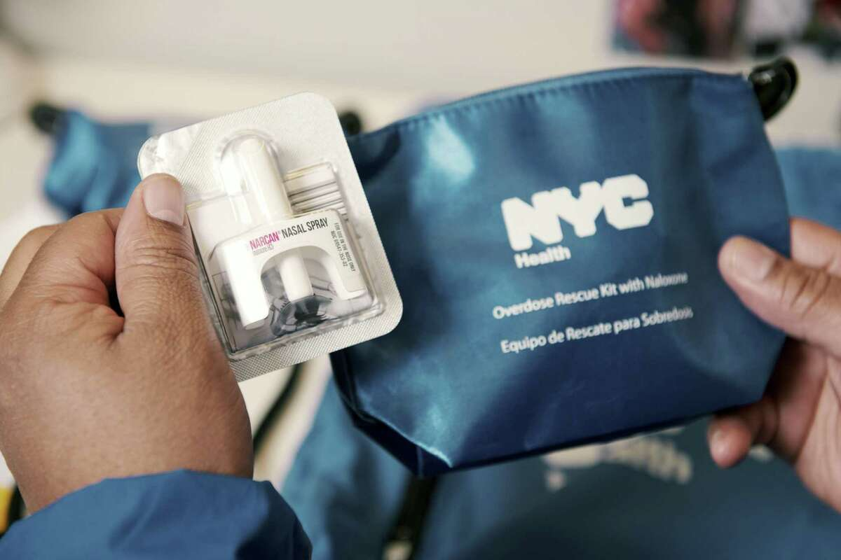 Narcan nose spray in a overdose kit that Robert Fagan, a former heroin addict who now works as a hospital peer outreach worker, tries to distribute to overdose patients, in Queens, New York, Feb. 5, 2018. With more treatment, and more police detectives, city officials are cautiously optimistic that their efforts are halting the swift rise in fatal overdoses. (Vincent Tullo/The New York Times)