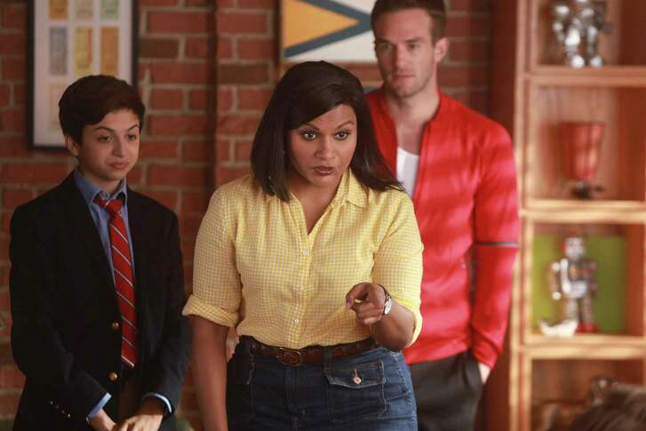 "J.J. Totah, left, Mindy Kaling and Andy Favreau star in the new NBC comedy ""Champions."""