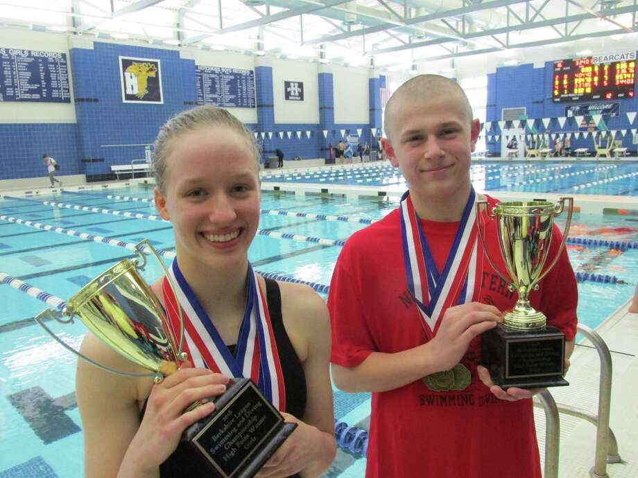 Northwestern's Cassidy Stotler and Derek Fantano were the female and male high-point scorers at Saturday's Berkshire League Championship swim meet. Photo: Peter Wallace / Hearst Connecticut Media