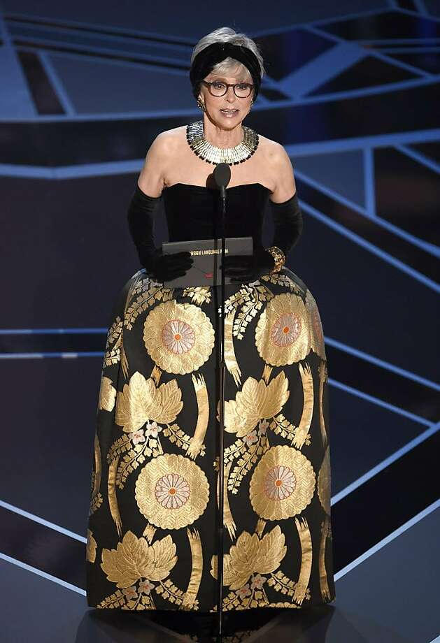 Rita Moreno presents the award for best foreign language film at the Oscars on Sunday, March 4, 2018, at the Dolby Theatre in Los Angeles. Photo: Chris Pizzello, Associated Press