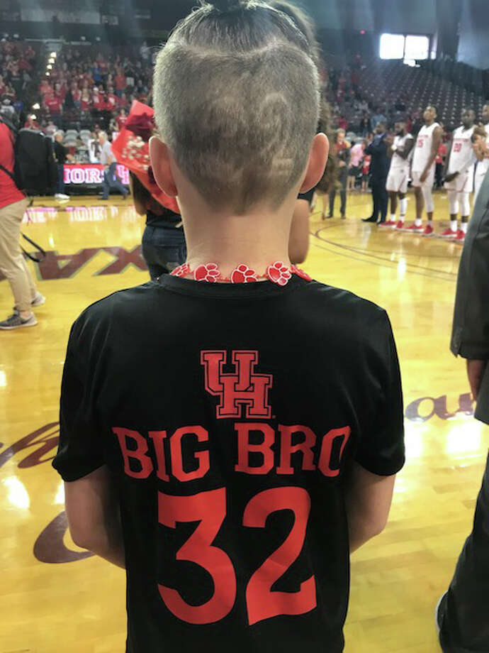 Rob Gray's little brother, Jackson, shows his support at UH's game against Connecticut on March 4, 2018. Photo: Joseph Duarte