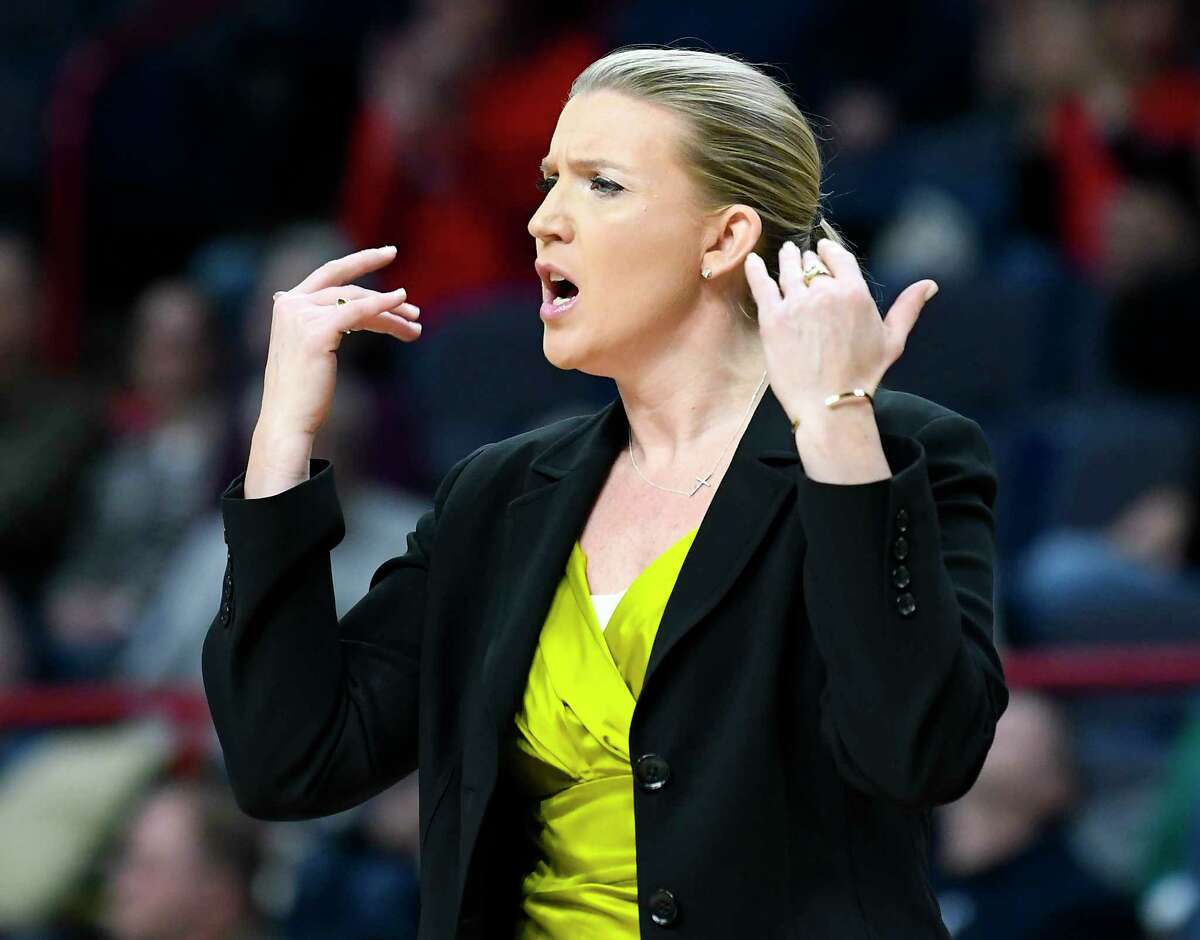 Siena head coach Ali Jaques reacts to a call while playing Marist during the first half of an NCAA college basketball game in the semifinal of the Metro Atlantic Athletic Conference tournament Monday, March 5, 2018, at the Times Union Center in Albany, N.Y. Marist won the game 67-51. (AP Photo/Hans Pennink)