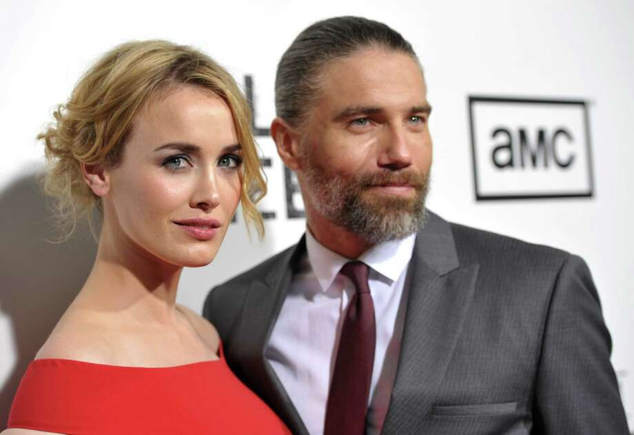 "COMMERCIAL IMAGE - Actors Dominique McElligott, left, and Anson Mount attend a special screening of the second season premiere of ""Hell on Wheels""  on Monday, July 30, 2012 in Beverly Hills, Calif. (Photo by John Shearer/Invision for AMC/AP Images) Photo: John Shearer / Invision"