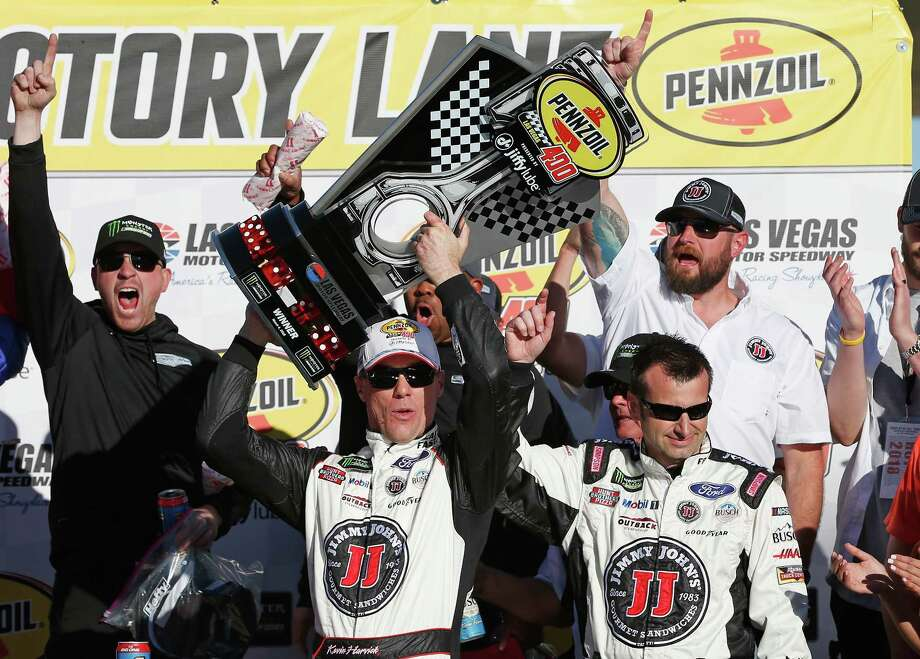 LAS VEGAS, NV - MARCH 04:  Kevin Harvick, driver of the #4 Jimmy John's Ford, celebrates with the trophy during the Monster Energy NASCAR Cup Series Pennzoil 400 presented by Jiffy Lube at Las Vegas Motor Speedway on March 4, 2018 in Las Vegas, Nevada.  (Photo by Brian Lawdermilk/Getty Images) Photo: Brian Lawdermilk / 2018 Getty Images