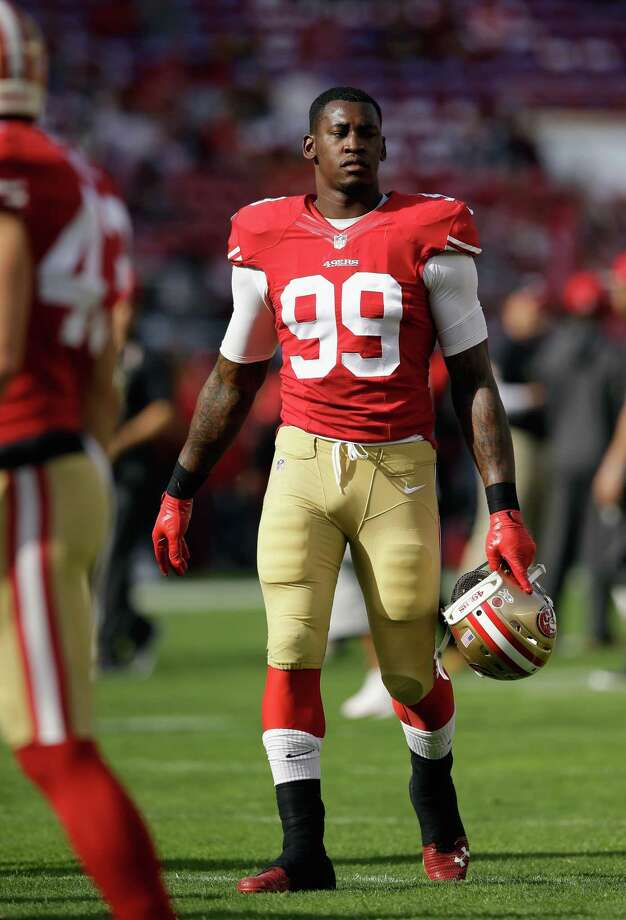 SANTA CLARA, CA - NOVEMBER 23:  Aldon Smith #99 of the San Francisco 49ers is seen during pregame against the Washington Redskins at Levi's Stadium on November 23, 2014 in Santa Clara, California.  (Photo by Ezra Shaw/Getty Images) ORG XMIT: 507872331 Photo: Ezra Shaw / 2014 Getty Images
