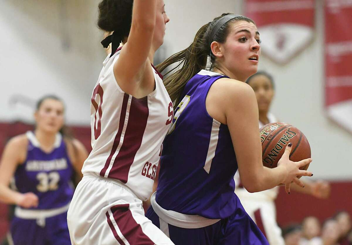 Amsterdam's Giuliana Pritchard, right, drives to the basket guarded by Scotia's Mary Kate Palleschi during a basketball game on Monday, Jan. 22, 2018 in Scotia, N.Y. (Lori Van Buren/Times Union)