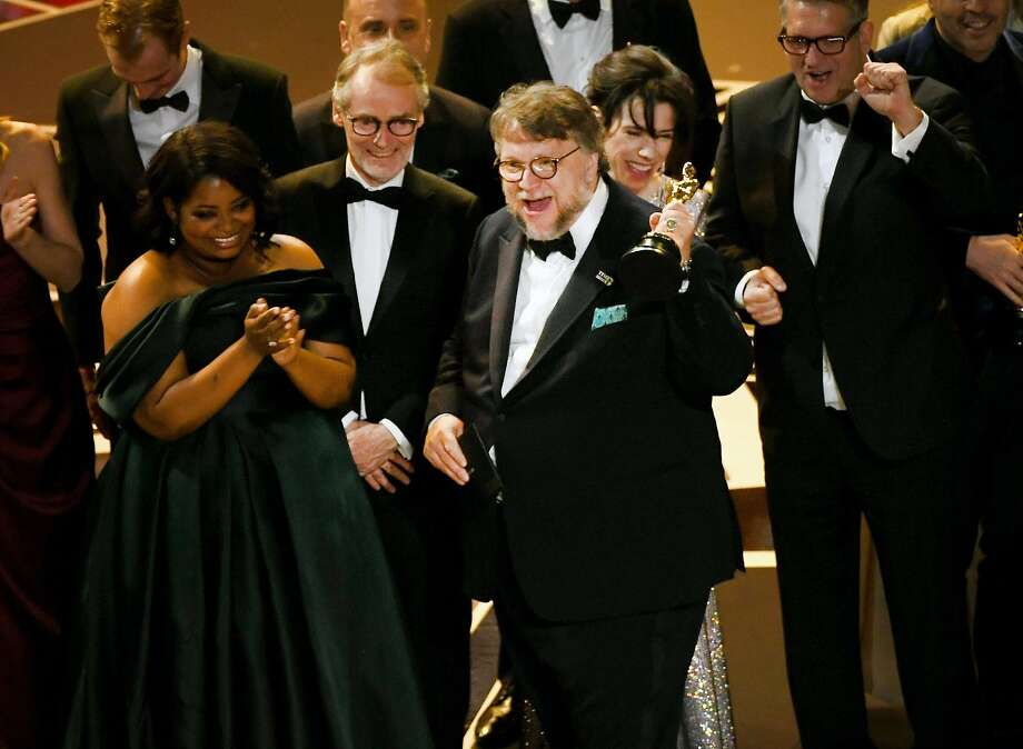 Director Guillermo del Toro (C) holds the Best Picture award for 'The Shape of Water' with actors Octavia Spencer and Sally Hawkins onstage during the 90th Annual Academy Awards at the Dolby Theatre at Hollywood & Highland Center on March 4, 2018 in Hollywood, California. Photo: Kevin Winter, Getty Images