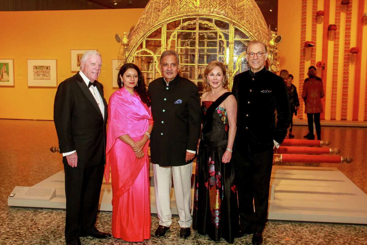 "Rich Kinder, from left, Baijilal Shivranjani Rajye of Marwar-Jodhpur, H. H. Maharaja GajSingh II of Marwar-Jodhpur, Nancy Kinder and Gary Tinterow at the opening dinner for ""Peacock in the Desert: The Royal Arts of Jodhpur, India,"" at MFAH."
