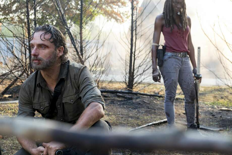 Andrew Lincoln as Rick Grimes, Danai Gurira as Michonne. Photo: Gene Page/AMC