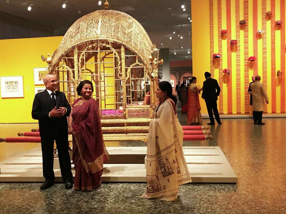 "The scene at the patrons' preview for ""Peacock in the Desert: The Royal Arts of Jodhpur, India"" at the Museum of Fine Arts, Houston. Photo: Molly Glentzer, Houston Chronicle"