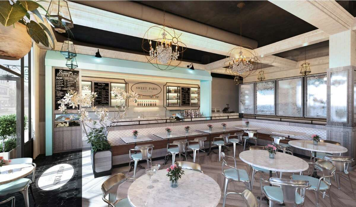 Artist rendering of the interior of the new Sweet Paris Creperie & Cafe that will open late summer 2018 in Highland Village.