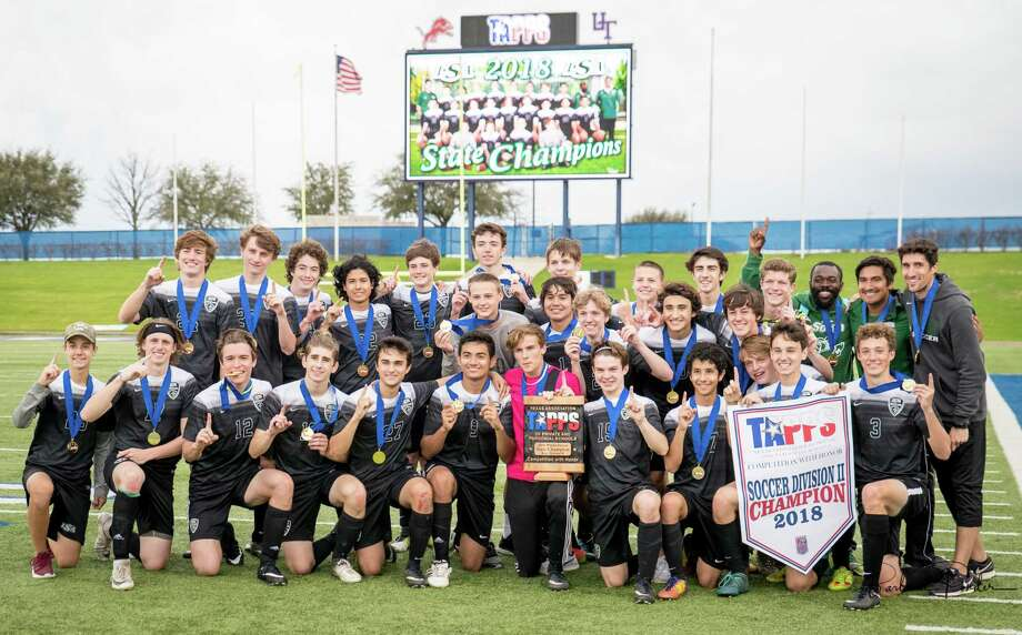 Lutheran South's boys soccer team has won  the TAPPS Division II State Championship. Team members are: front row: Zach Giugliano, Jordan Hill, Will Pfieffer, Levi Schaider, Noa Miller, Aaron Morales, Kyle Dagley, Blake Baggott, Mathew William, Mark Giugliano, Zack Roberts; middle row: Eli Garrabrant, Joel Diaz, Nick Little, Alex Canales, Jacob Freeborn, Charlie Beck
