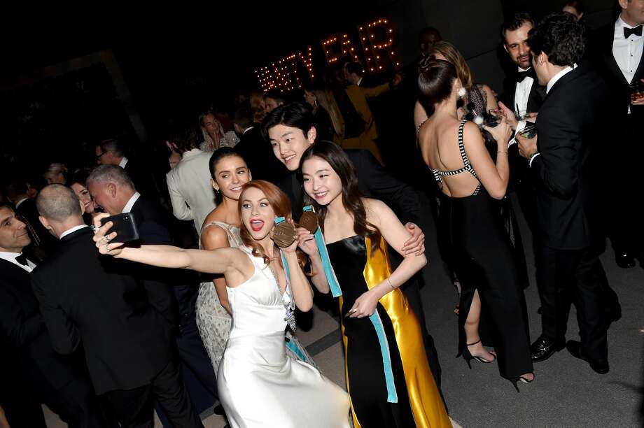 (L-R) Julianne Hough, Nina Dobrev, Maia Shibutani, and Alex Shibutani attend the 2018 Vanity Fair Oscar Party hosted by Radhika Jones at Wallis Annenberg Center for the Performing Arts on March 4, 2018 in Beverly Hills, California.  (Photo by Nicholas Hunt/VF18/WireImage) Photo: Nicholas Hunt/VF18/WireImage