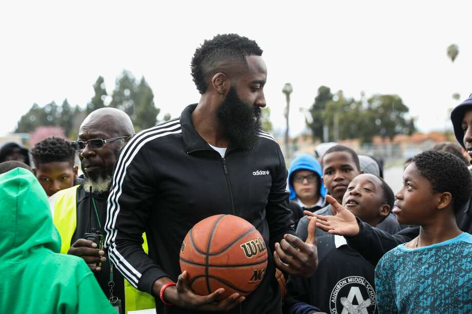 James Harden of the Houston Rockets talks to the kids at a surprise appearance at Audubon Middle School on February 27, 2018 in Los Angeles, California.See more photos of Harden back at his old school... Photo: Cassy Athena/Getty Images