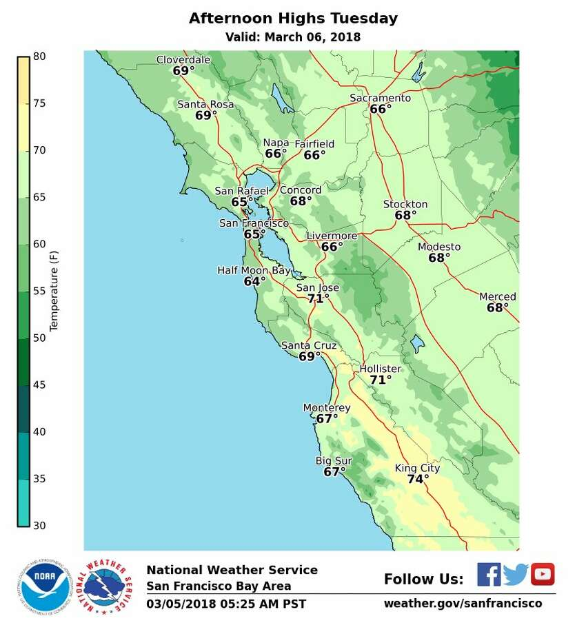 The National Weather Service Bay Area says a pronounced warming trend will occur Monday and Tuesday around the Bay Area. Here's a look at forecast highs. Photo: National Weather Service Bay Area