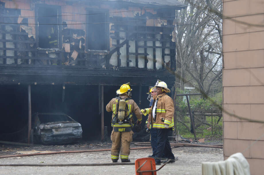 An unoccupied garage apartment on Magnolia Street in Beaumont was damaged in a structure fire Sunday afternoon, Beaumont Fire Rescue said. Photos provided by Eric Williams