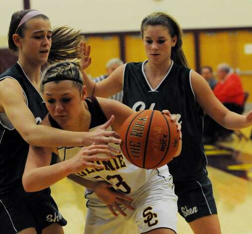 Shenendehowa's Kayla Wheeler, left, guards Colonie's Jaclyn Welch, center, as Maggie Smith of Shenendehowa helps out.  (Luanne M. Ferris / Times Union) Photo: LMF