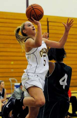Ashley Loggins of Colonie goes up for a basket. (Luanne M. Ferris / Times Union) Photo: LMF