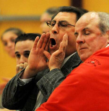 Shenendehowa coach Ken Strube yells instructions to his girls' basketball team as they play against Colonie. (Luanne M. Ferris/Times Union) Photo: LMF