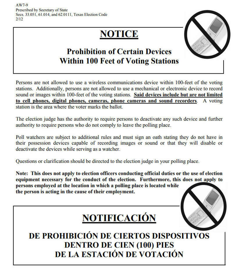 This is one of the fliers the Texas Secretary of State has distributed to polling places around the state regarding its cell phone ban. Photo: Texas Secretary Of State
