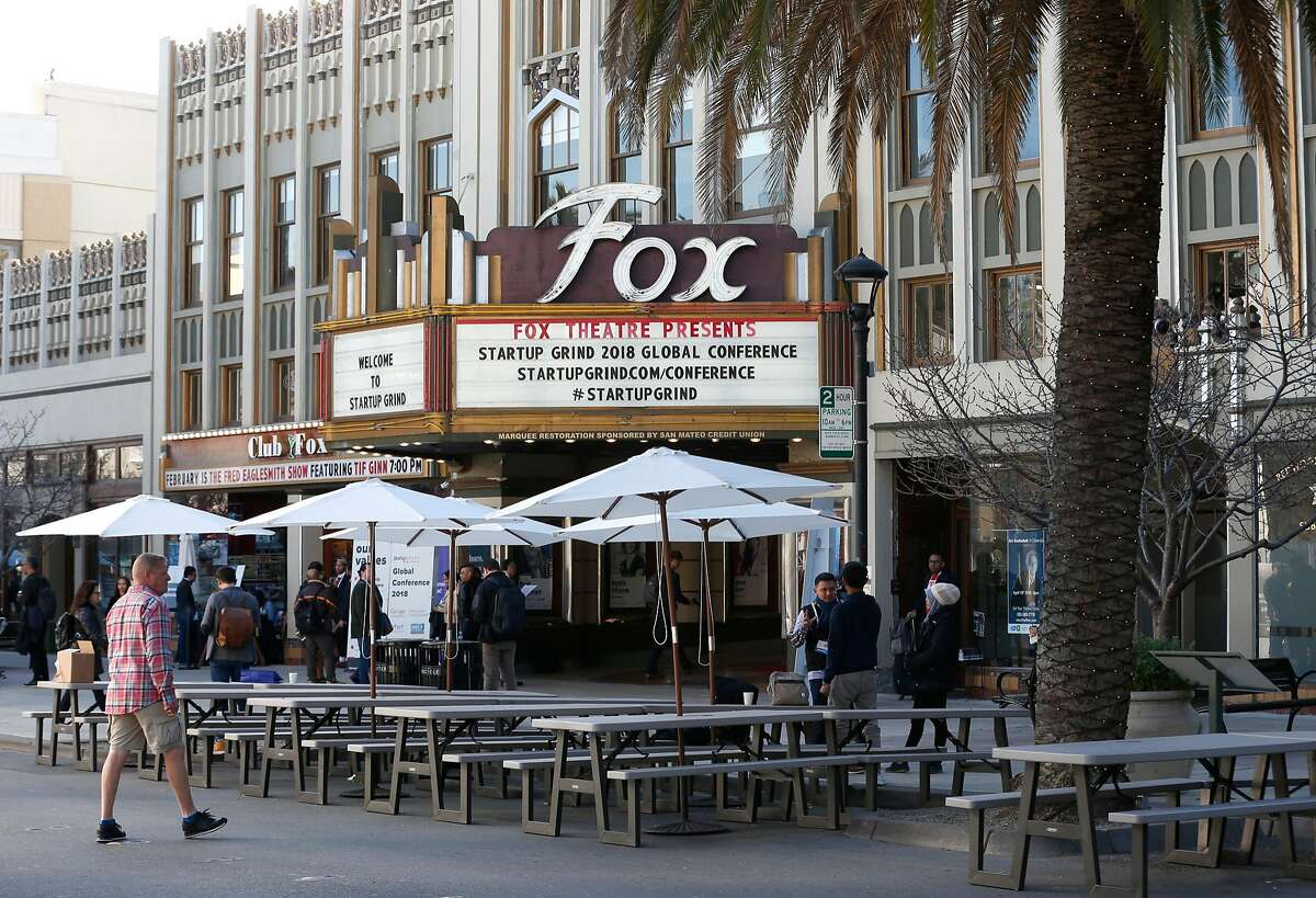 Broadway is closed to traffic in front of the Fox Theatre for the second day of the Startup Grind Global Conference in Redwood City, Calif. on Wednesday, Feb. 14, 2018.