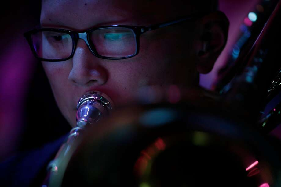 Rich Lee on Trombone with the Elecric Squeezebox Orchestra during the Cal Jazz Conservatory Fiddler Annex grand opening week final concert in Berkeley, Calif., on Sunday, March 4, 2018. The concert featured the Electric Squeezebox Orchestra, a 17-piece big band led by Erik Jekabson and special guest percussionist John Santos as well as the Cosmic Conquerors, a 14-piece big band, led by Isaiah Hammer. Photo: Carlos Avila Gonzalez, The Chronicle
