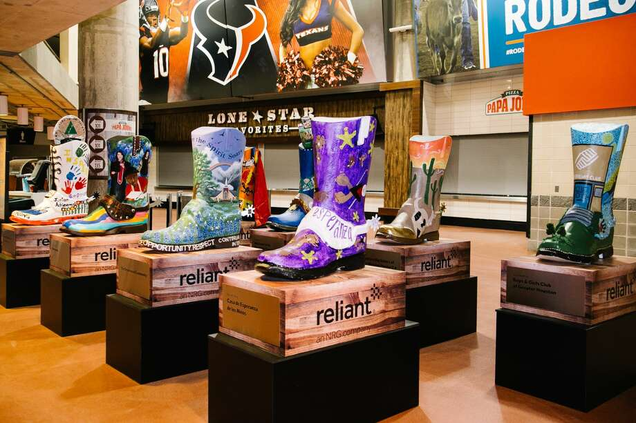 PHOTOS: Those painted boots at RodeoHouston explainedVisitors to NRG Stadium have probably noticed the large, painted cowboy boots in the concourse, in section 101 to be exact. See more photos of the boots... Photo: Reliant Energy