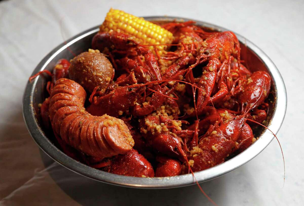A three-pound order of spicy Vietnamese-Cajun crawfish at Crawfish & Noodles made by tossing boiled crawfish in garlic butter, spices and ground chile pepper at Crawfish & Noodles, Wednesday, Feb. 28, 2018, in Houston. Trong Nguyen has been named a semifinalist for Best Chef Southwest by the prestigious James Beard Awards. ( Karen Warren / Houston Chronicle )