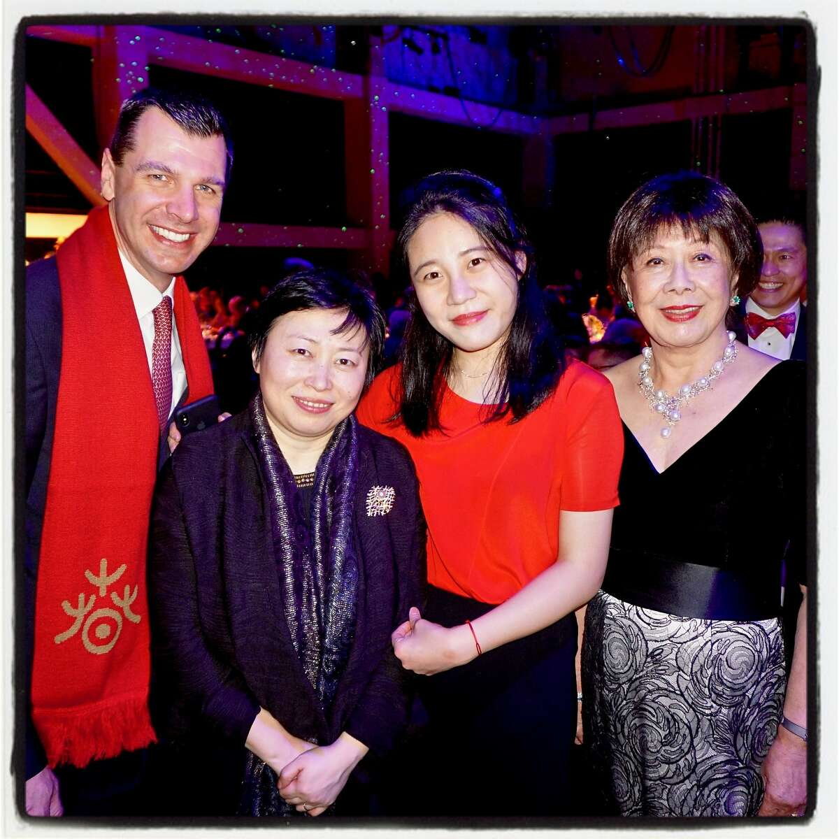 SFS Executive Director Mark Hanson (left) with conductor Xian Zhang, pianist Zhang Zuo and SFS trustee Margaret Lui Collins at Sound Box. Feb. 24, 2018.