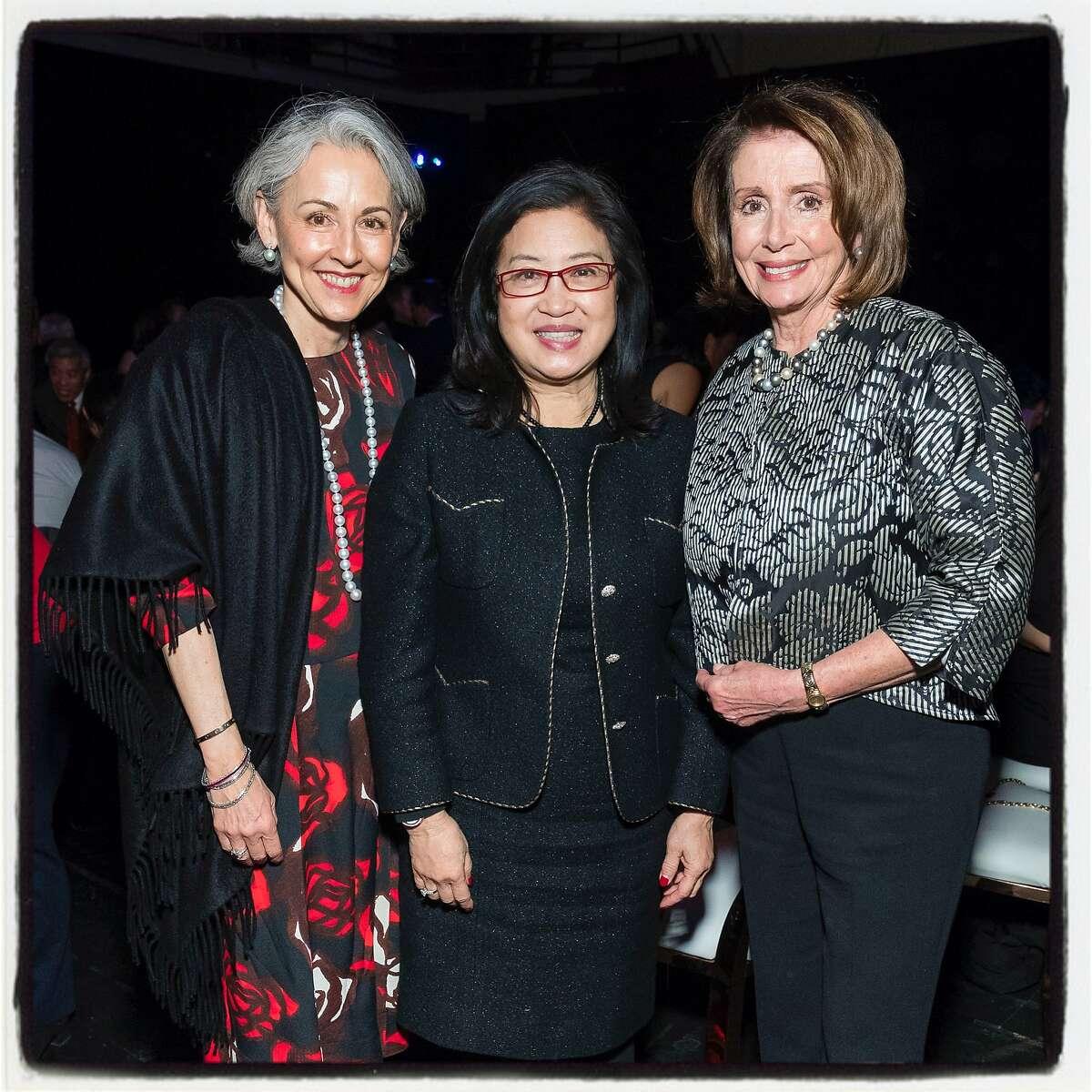 SFS President Sako Fisher (left) with Anita Lee and Rep. Nancy Pelosi at Sound Box. Feb. 24, 2018.