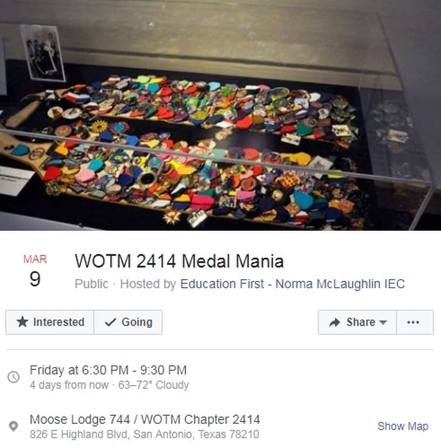 WOTM 2414 Medal Mania- March 9, 6:30 to 9:30 p.m.Moose Lodge 744826 Highland Blvd.  Photo: Facebook Events Screen Captures