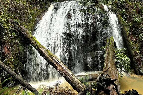 A 35-foot waterfall --with no name -- hidden in Russian Gulch State Park on the Mendocino coast is a prize find