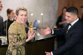 Frances McDormand, who won for best actress, with her son, Pedro McDormand Coen, at the Governors Ball following the 90th Academy Awards in Los Angeles on Sunday, March 4, 2018. (Noel West/The New York Times)