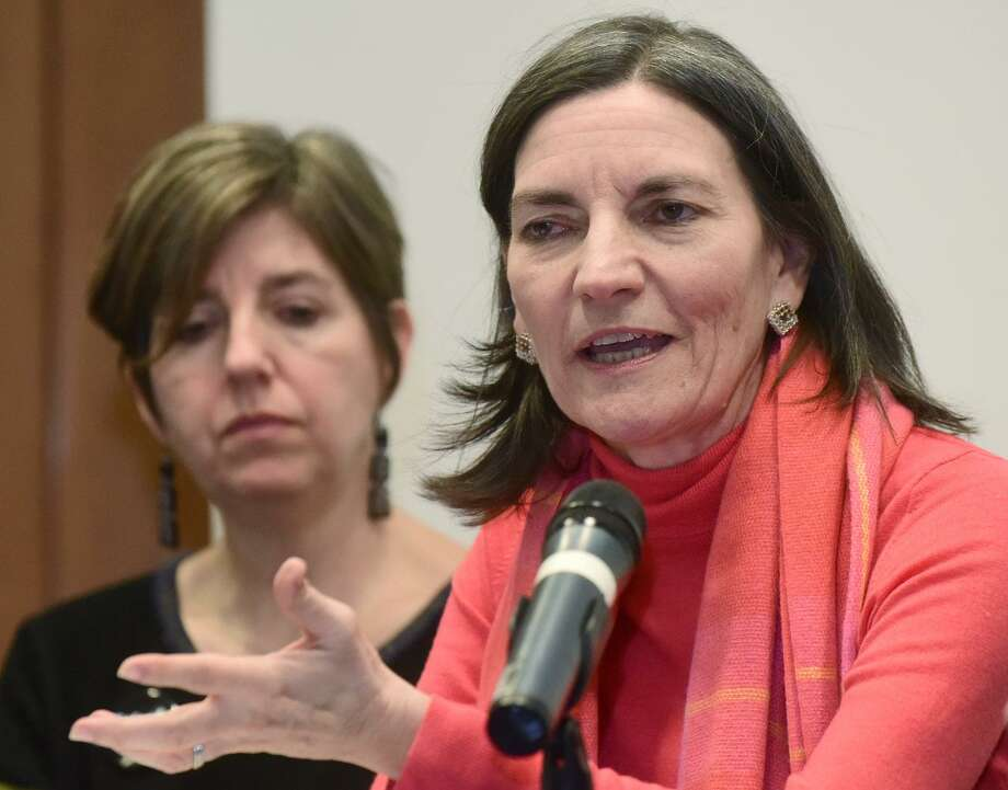 "Catalina Horak, executive director of Building One Community, speaks in March 2017 during a forum at Norwalk Community College. Horak's organization doubled its donation totals on the 2018 installment of Fairfield County's Giving Day held March 1, in part by emphasizing a mantra of ""no donation too small."" Photo: Erik Trautmann / Hearst Connecticut Media / Norwalk Hour"