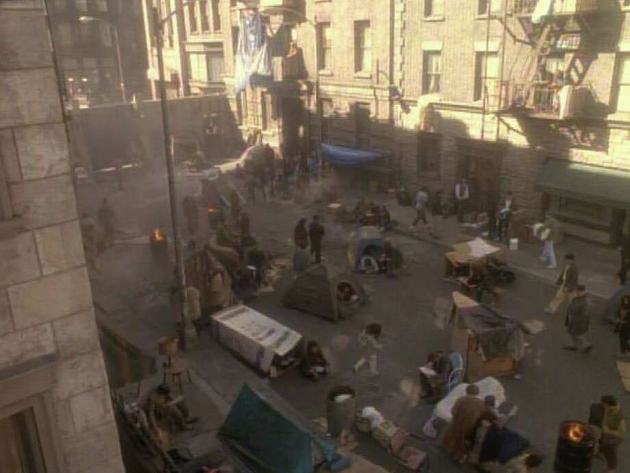 "A screen shot from the 1995 ""Star Trek: Deep Space Nine"" episode ""Past Tense"" shows a street in San Francisco turned into a homeless encampment. Photo: Screen Shot/Star Trek: Deep Space Nine"