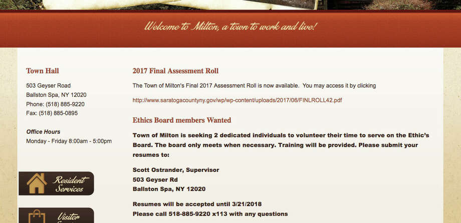 The Town of Milton website directs candidates for the Ethics Board to contact Supervisor Scott Ostrander. Photo: Townofmiltonny.org