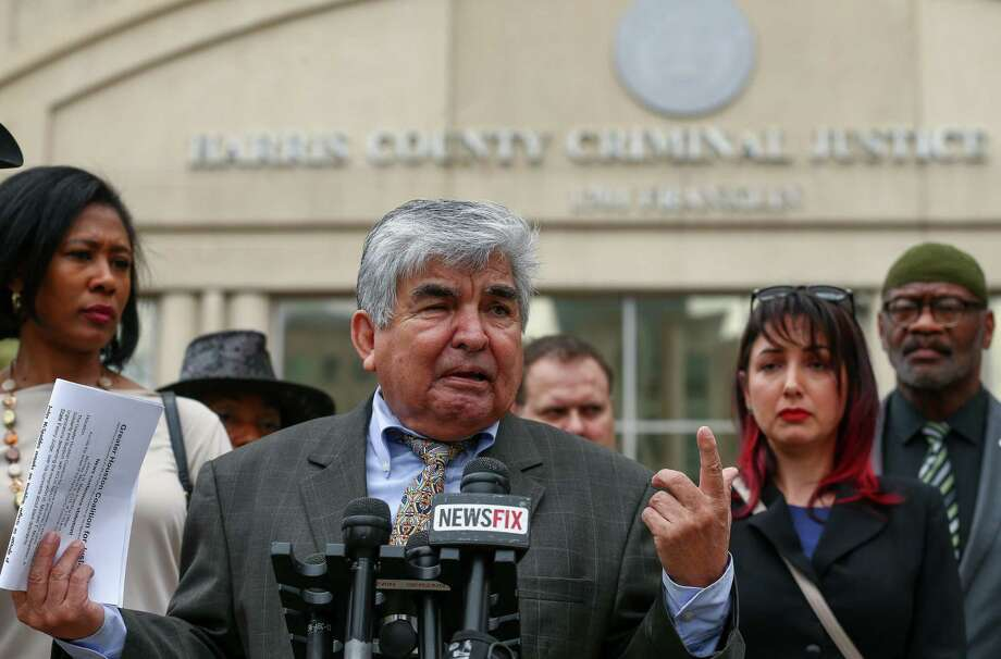Greater Houston Coalition for Justice chair Johnny Mata speaks to media about the civil rights group joining the efforts to remove of State District Judge Michael McSpadden during a press conference across the street from the Harris County Courthouse Monday, March 5, 2018, in Houston. Photo: Godofredo A. Vasquez / Godofredo A. Vasquez / Houston Chronicle