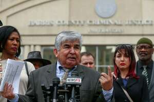 Greater Houston Coalition for Justice chair Johnny Mata speaks to media about the civil rights group joining the efforts to remove of State District Judge Michael McSpadden during a press conference across the street from the Harris County Courthouse Monday, March 5, 2018, in Houston.