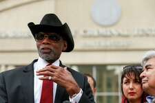 James Douglas, President of the Houston Branch of the NAACP, speaks to media about civil right groups seeking the removal of State District Judge Michael McSpadden during a press conference across the street from the Harris County Courthouse Monday, March 5, 2018, in Houston.