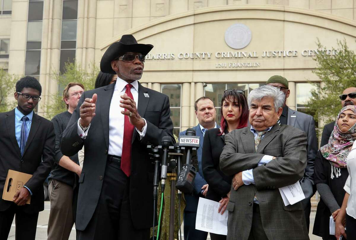 James Douglas, President of the Houston Branch of the NAACP, speaks to media about civil right groups seeking the removal of State District Judge Michael McSpadden during a press conference across the street from the Harris County Courthouse Monday, March 5, 2018, in Houston. ( Godofredo A. Vasquez / Houston Chronicle )