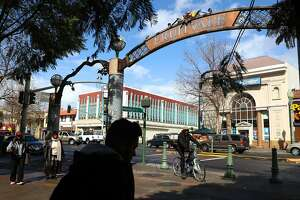 Entrance to Fruitvale Village on International Boulevard in the Fruitvale neighborhood of Oakland , Calif., on Thursday, March 1, 2018.