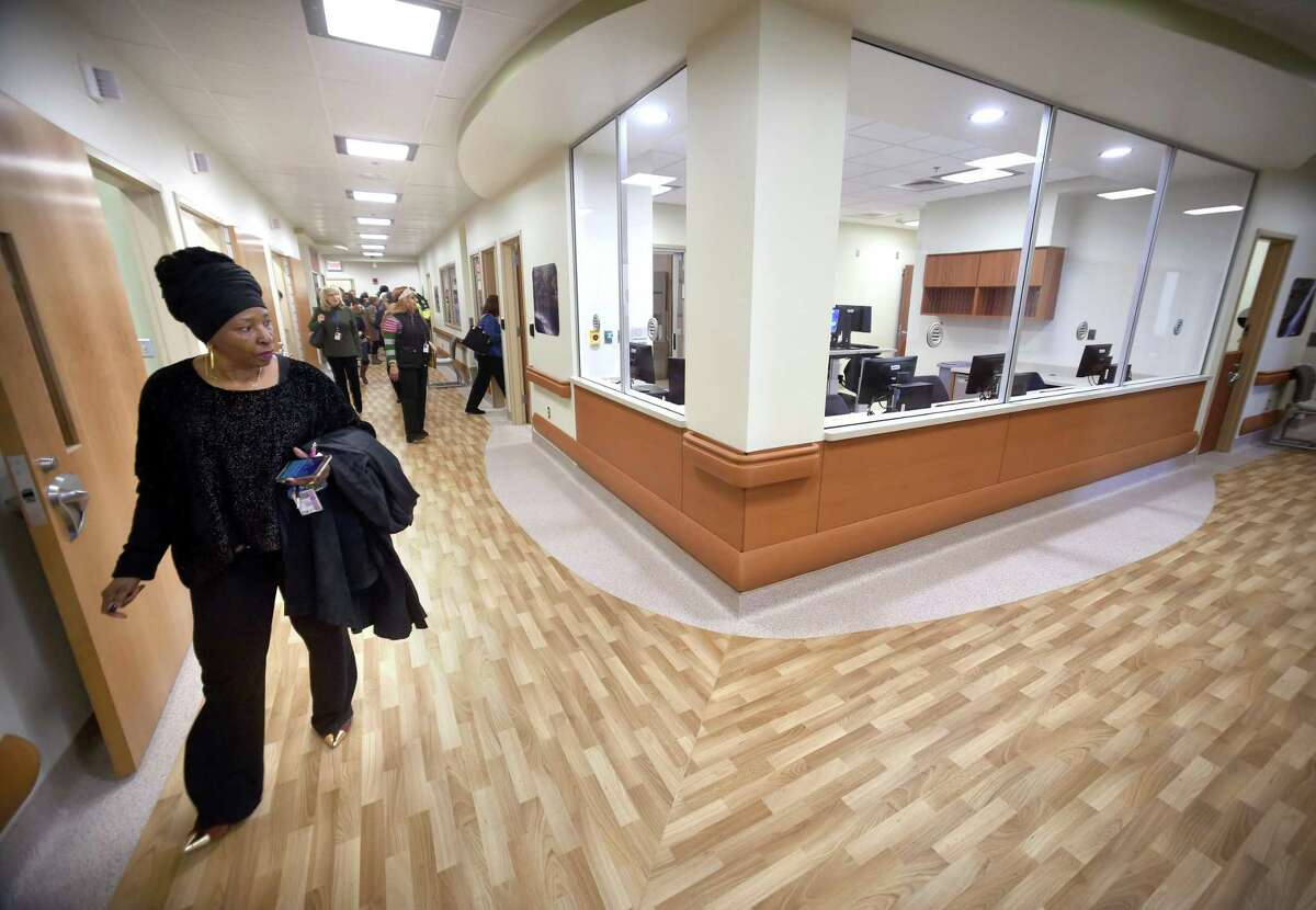 Doris Marina, president of the AFGE Local 1674, tours the new Psychiatric Emergency Room after a ribbon cutting ceremony at the VA Connecticut West Haven campus on March 5, 2018.