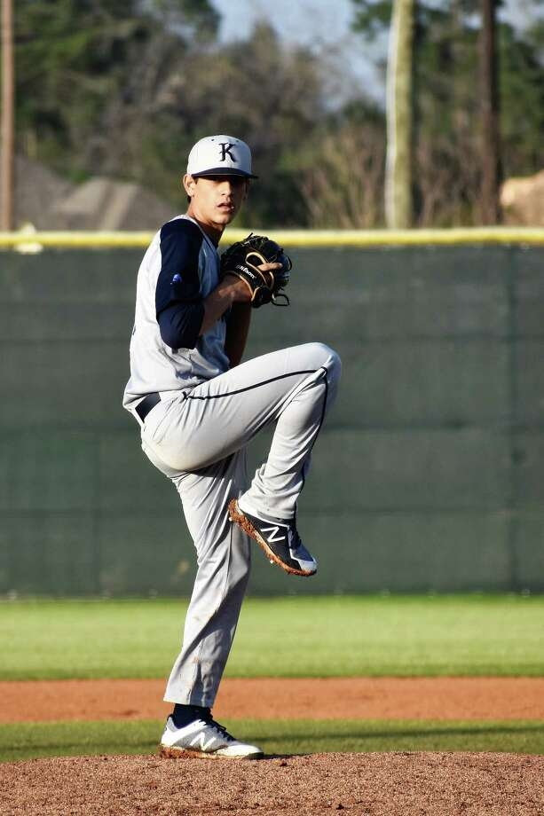 Kingwood senior Cody Lancaster pitches in a game against Kingwood Park on Feb. 23. Photo: Dianne Evans