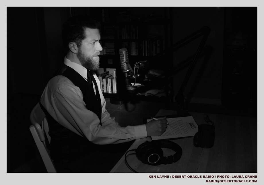 Ken Layne, who hosts Desert Oracle Radio in the Mojave Desert, at work in his recording studio. Photo: Courtesy Laura Crane