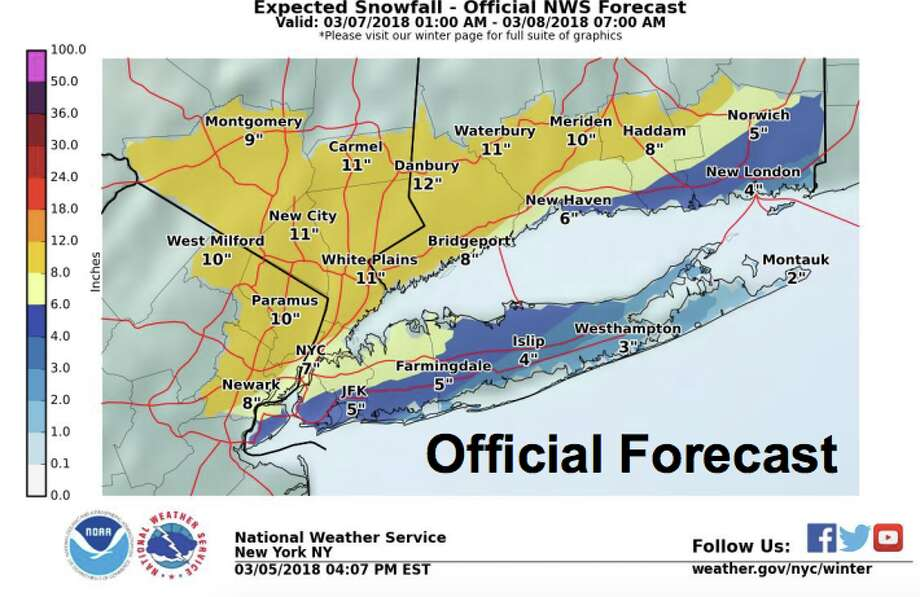 Connecticut is under a winter storm watch with the possibility of a foot of snow from a nor'easter on Wednesday, March 7. Photo: National Weather Service